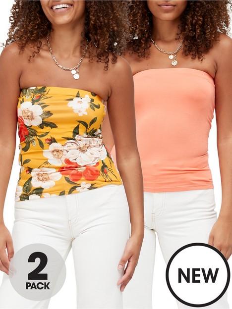 v-by-very-boobtube-2-pack-floral-printcoral