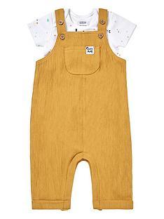 mamas-papas-unisex-baby-2-piece-crinkle-dungaree-and-bodysuit-set-mustard