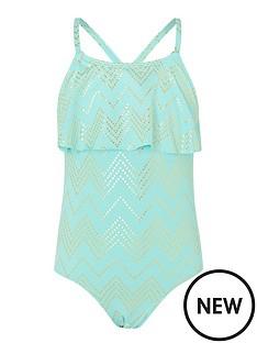 monsoon-girls-chevron-foil-frill-swimsuit-turquoise