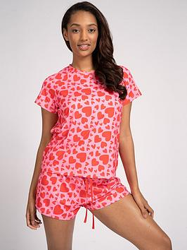 loungeable-heart-print-t-shirt-and-shorts-pj-set-pink-red