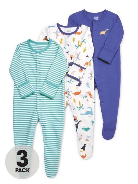 mamas-papas-baby-boys-3-pack-dino-sleepsuits-blue