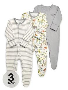 mamas-papas-baby-boys-3-pack-safari-party-sleepsuits-multi