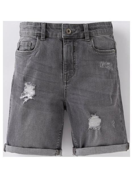 v-by-very-boys-rip-and-repair-denim-shorts-grey