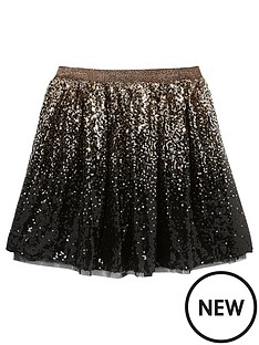 mintie-by-mint-velvet-girlsnbspombre-sequined-skirt-darknbspgold