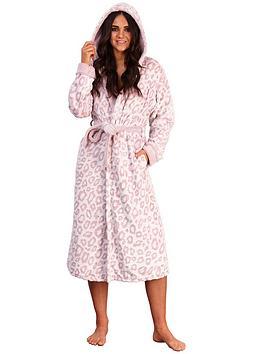 loungeable-leopard-print-fleece-hooded-robe-pink
