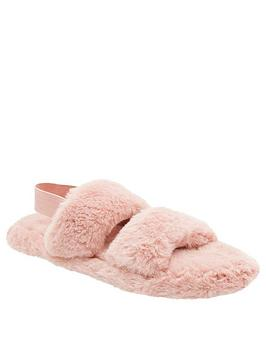 loungeable-loungeable-pink-two-bar-fluffy-slider-with-elastic-ankle-strap