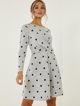 quiz-quiz-light-knit-polka-dot-tunic-dress-grey