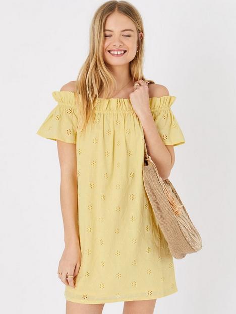 accessorize-schiffli-bardot-beach-dress-yellow