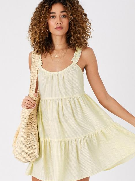 accessorize-gingham-mini-ruffle-shoulder-dress-yellow