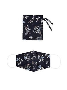 monsoon-floral-print-face-covering-with-pouch-black