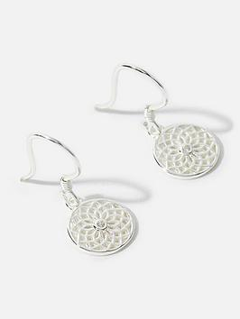 accessorize-sterlingnbspfiligree-disk-short-drop-earrings-silver