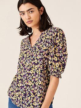 monsoon-missie-floral-print-short-sleeve-top-navy