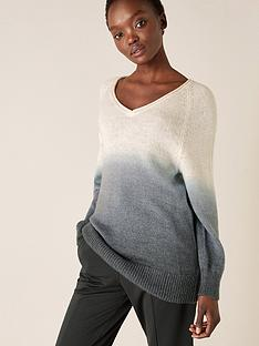 monsoon-v-neck-dip-dye-jumper-grey