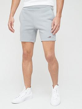 tommy-sport-logo-fleece-shorts-grey