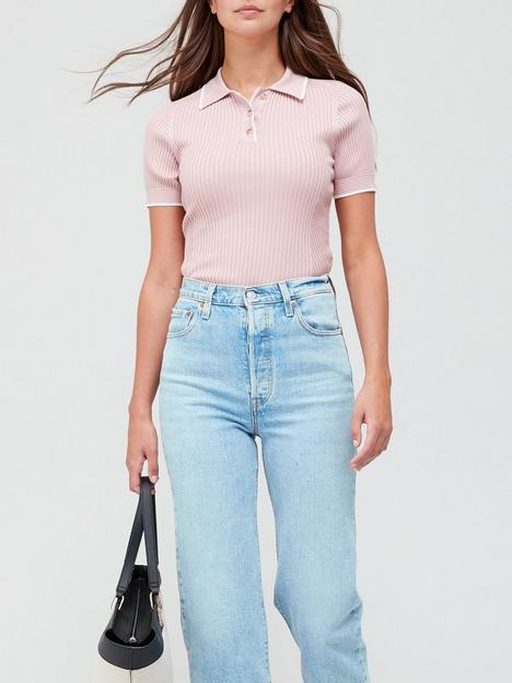 ted-baker-knitted-polo-top-coral