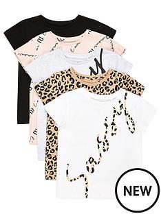 river-island-mini-mini-girlsnbspleopard-t-shirts-5-packnbsp-nbspmulti