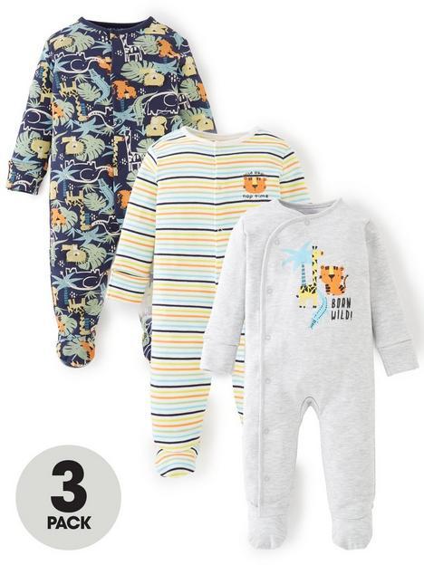 mini-v-by-very-baby-boys-3-pack-jungle-sleepsuits-multi