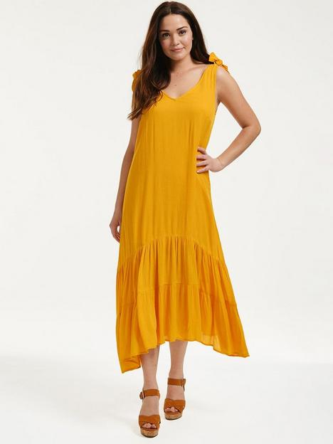figleaves-trapeze-midi-dress-with-tie-shoulders-ochre
