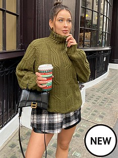 in-the-style-in-the-style-x-naomi-genesnbspcable-knit-roll-neck-jumper-khaki