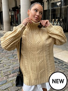 in-the-style-in-the-style-x-naomi-genes-stone-cable-knit-roll-neck-jumper