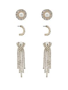 mood-rose-gold-plated-crystal-diamante-and-pearl-3-pack-earrings