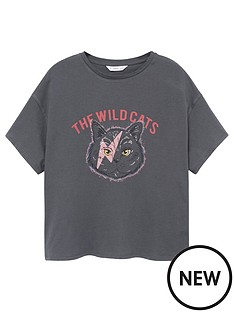 mango-teen-girls-wildcats-short-sleeve-t-shirt-charcoal