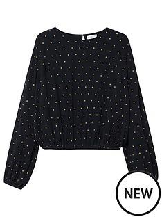mango-teen-girls-woven-star-print-blouse-black