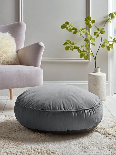 cox-cox-velvet-round-floor-cushion-grey