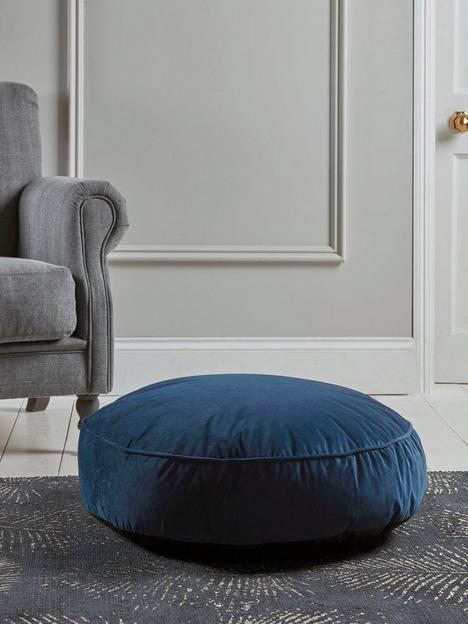 cox-cox-velvet-round-floor-cushion-navy
