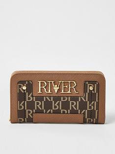 river-island-monogram-ziparound-purse-beige