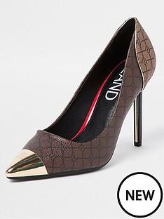 river-island-monogram-metal-toe-cap-court-shoe-brown
