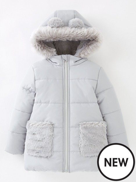 mini-v-by-very-girls-fur-pocket-half-fur-lined-coat-grey