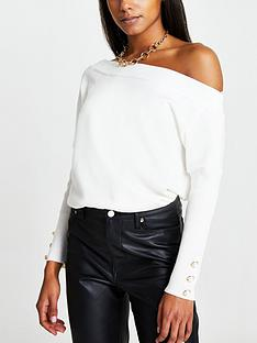 river-island-off-the-shoulder-button-detail-jumper-ivory