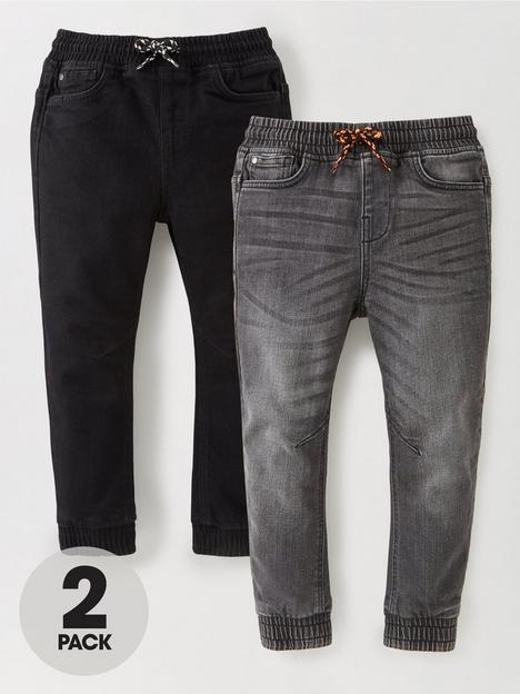 mini-v-by-very-boys-2-pack-pull-on-carrot-fit-jeans-black