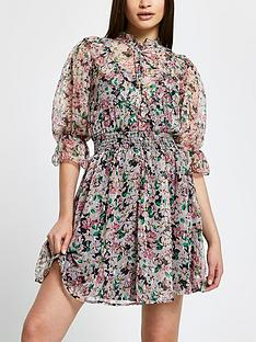 river-island-printed-frill-high-neck-dress-pink