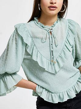 river-island-frill-high-neck-blouse-sage