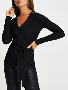 river-island-jersey-wrap-hardware-detail-top-black