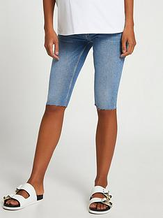 river-island-maternitynbspdenim-cycling-short-dark-blue