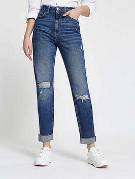 river-island-carrie-ripped-mom-jean-mid-blue
