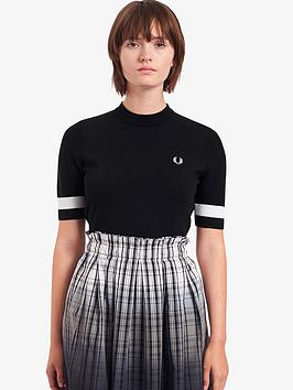 fred-perry-bold-tipped-knitted-short-sleeve-jumper-black