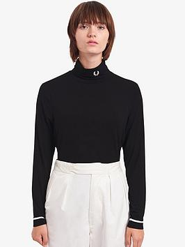 fred-perry-high-necknbsplong-sleeve-top-black