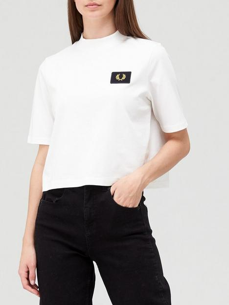 fred-perry-high-neck-badge-detail-t-shirt-white