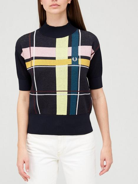 fred-perry-check-jacquard-short-sleeve-knit-top-multi