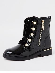 river-island-girls-eyelet-lace-up-patent-boot--nbspblack