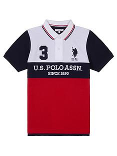us-polo-assn-boys-player-colour-block-polo-shirt-red