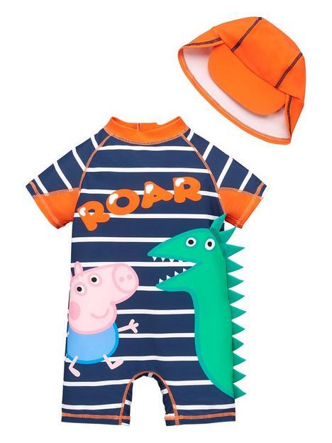 peppa-pig-boys-george-pig-2-piece-stripe-dinosaur-all-in-one-spf40-sunsafe-andnbsphat-set-navy
