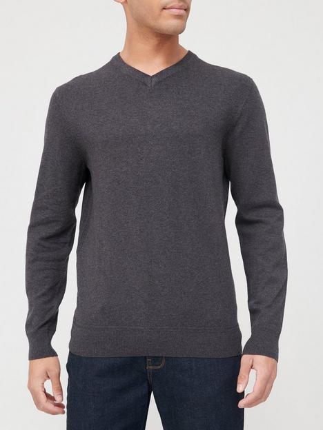 very-man-cotton-rich-v-neck-jumper-charcoal-marl