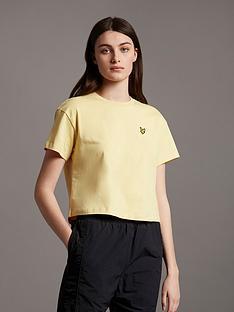 lyle-scott-crop-t-shirt-yellow