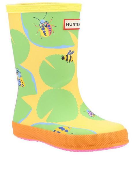 hunter-kids-lily-pad-wellington-boot-yellow