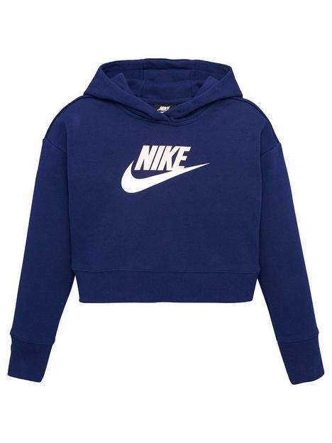 nike-girls-nsw-club-crop-overheadnbsphoodie-blue